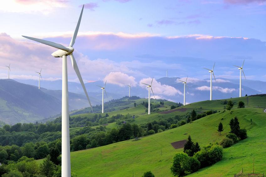 wind turbines in rolling hills
